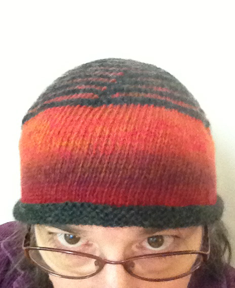 red woolly hat