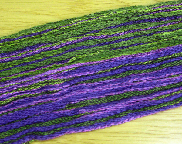 purple-green crinkly scarf