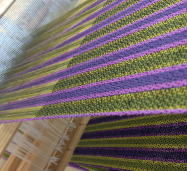 purple-green twill block warp