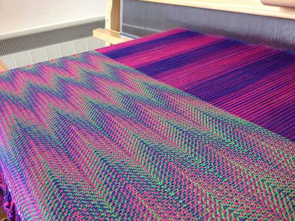 blue-pink with green weft
