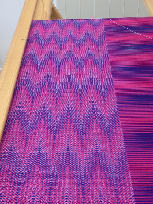 blue pink with lilac weft
