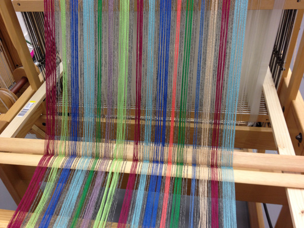 coloured stripy warp