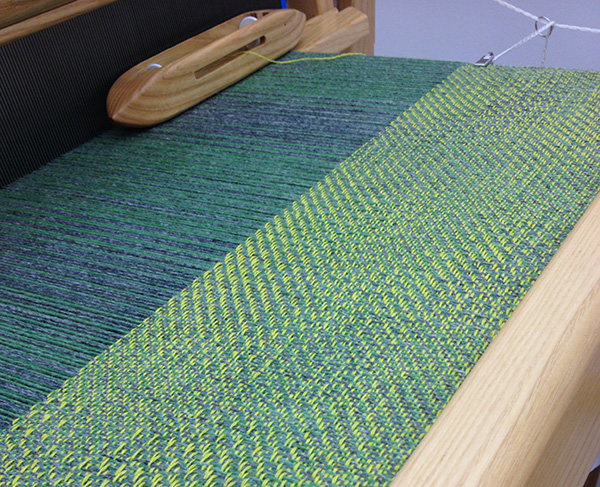 green and yellow woolly weaving