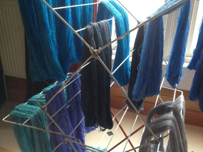 new yarns drying